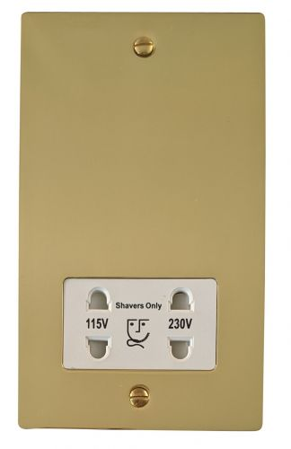 G&H FB30W Flat Plate Polished Brass Dual Voltage Shaver Socket 115-230V